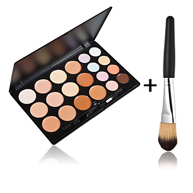 20 Farben Kontur Gesichtscreme Make-up Concealer Palette + 1 Stück hochwertige Puderpinsel