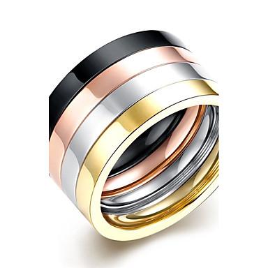 Lureme® 4stk Gyldent Titanium Stål Sølvbelagt udendørs til Gylden Udvalgte Farver / Ring / Band Ring / Statement Ring / Herre / Løftering