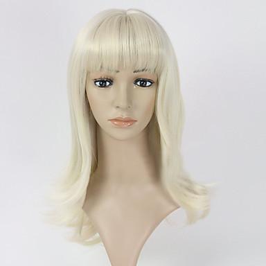 Damen Synthetische Perücken Kappenlos Mittel Glatt Blonde Kostüm Perücken