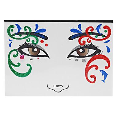 Stencils de Tatuagem TemporáriaFeminino Adulto- dePapel-Vermelho-14*14*0.31