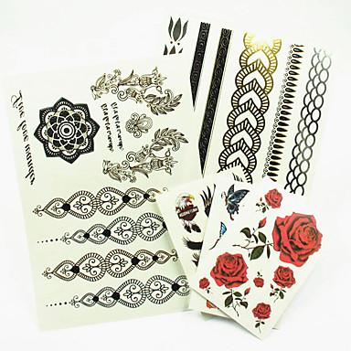 - Tattoo Aufkleber - Muster/Hawaiian/Waterproof - Schmuck Serie - für Damen/Herren/Erwachsener/Teen - Gold/Schwarz/Silber - Papier - 5
