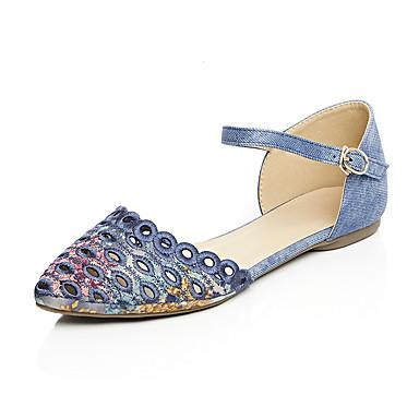 Damen Schuhe Denim Jeans maßgeschneiderte Werkstoffe Frühling Sommer Knöchelriemen Niedriger Heel Für Normal Kleid Grau Blau Mandelfarben