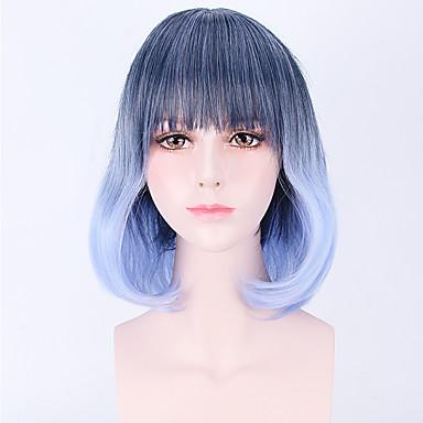 Mulher Perucas sintéticas Sem Touca Curto Ondulado Azul Peruca para Cosplay Perucas para Fantasia