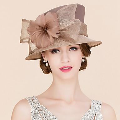 Flachs Feder Satin Fascinators Hüte Kopfstück klassischen femininen Stil