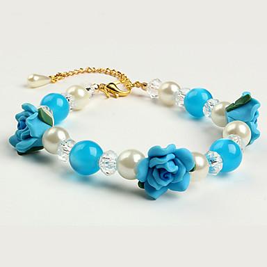 Katte / Hunder Krave / Halskjede Perler / Blomsternål i krystall Blå / Pink Plastikk
