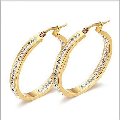 Femme Boucles d'oreille gitane Mode Bijoux de Luxe Acier au titane Imitation Diamant Forme de Cercle Forme Ovale Bijoux PourSoirée