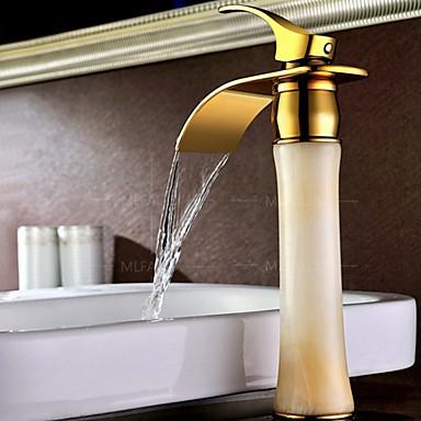 ארט דקו / רטרו סט מרכזי מפל מים נפוץ שסתום קרמי חור ידית אחת אחת TI-PVD, חדר רחצה כיור ברז
