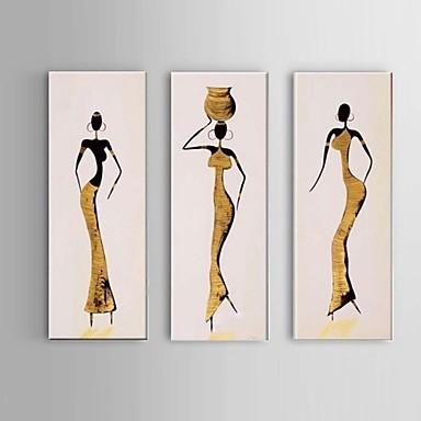 pintura a óleo mulheres afro-pintado mão na lona 3pcs / frame do whit definir a arte da parede