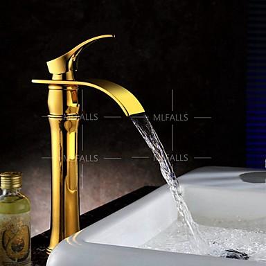 Art Déco-retrò Installazione Centrale Cascata - Ampio Spray With Valvola In Ceramica Una Manopola Un Foro For Ti-pvd , Lavandino #05029034 Elegante Nell'Odore