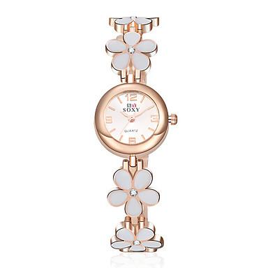 Damen Modeuhr Armband-Uhr Quartz Wasserdicht Legierung Band Blume Elegante Schwarz Weiß Weiß Schwarz