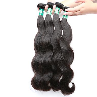 Cheveux Malaisiens Ondulation naturelle Tissages de cheveux humains 4pcs Doux Tissages de cheveux humains Quotidien