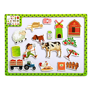 Cartoon Puzzle magnéticos brinquedos-a tuba de madeira quebra-cabeça das crianças fazenda