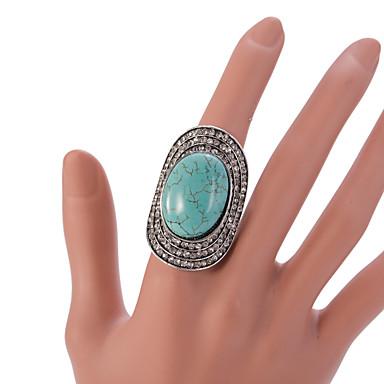 Dame Statement Ring / Justerbar ring - Turkis, Legering Vintage, Mode Justerbar Grøn Til Fest / Daglig / Afslappet / Krystal / Rhinsten