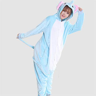 Erwachsene Kigurumi-Pyjamas Elefant Pyjamas-Einteiler Kostüm Korallenfleece Blau Cosplay Für Tiernachtwäsche Karikatur Halloween Fest / Feiertage / Weihnachten