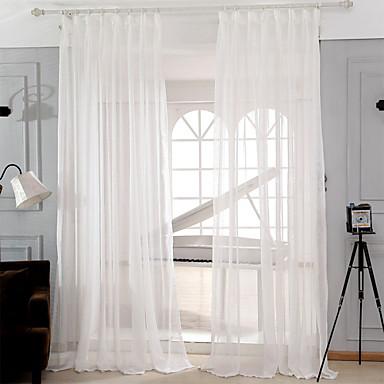 שני פנאלים מודרני מוצק לבן חדר שינה תערובת פוליאסטר/כותנה Sheer וילונות גוונים
