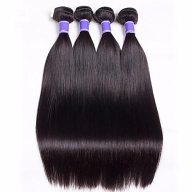 Malaysisk hår Menneskehår Vevet Rett Hårforlengelse 1 Deler Naturlig Farge