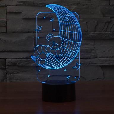 מנורה יפה שולחן 3D LED צורת ירח דוב מנורת לילה מנורת לילה תינוק בחדר הצבע משתנה
