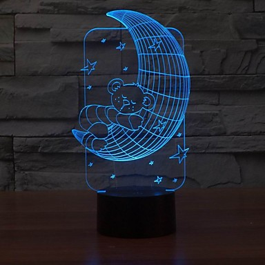 encantador candeeiro de mesa LED 3D formato de lua urso luz da noite para o quarto do bebê que muda de cor luz noite