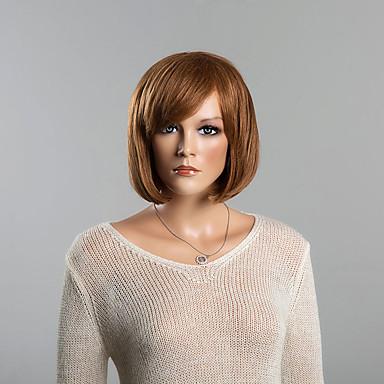 Menschliches Haar Capless Perücken Echthaar Glatt Klassisch Gute Qualität Kappenlos Perücke Alltag