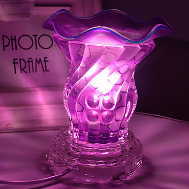 de cristal lâmpada da fragrância de vidro 2 cores luz do quarto óleos de aromaterapia plugue elétrico queimador de incenso noite