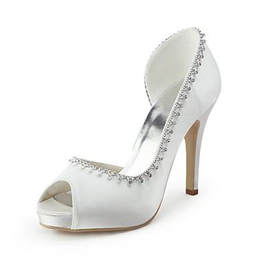 בגדי ריקוד נשים נעליים משי קיץ עקב סטילטו פאייטים / פתחים לבן / חתונה / מסיבה וערב