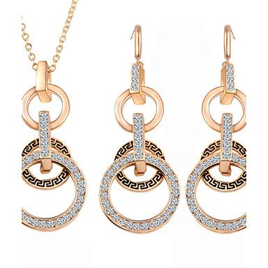 Schmuckset Kubikzirkonia Europäisch Aleación Kreisform Gold 1 Halskette 1 Paar Ohrringe Für Alltag 1 Set Hochzeitsgeschenke
