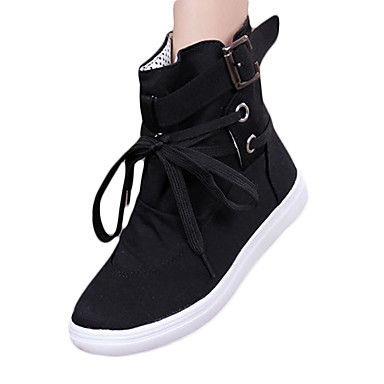 Damen Schuhe Leinwand Winter Stiefel Flacher Absatz Schnürsenkel Schwarz / Grau