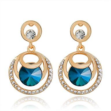 אופנתי גילוי תכשיטים תכשיטי יוקרה קריסטל חיקוי יהלום Circle Shape Cross Shape כחול תכשיטים ל Party יומי קזו'אל 1 זוג