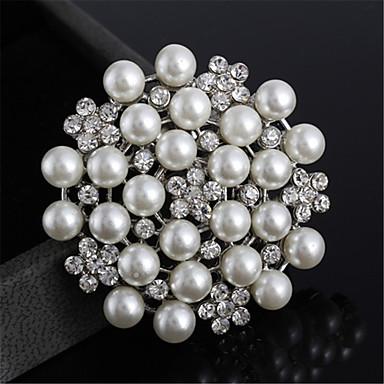 Broche en alliage de mode belle strass broches perles pour les femmes filles
