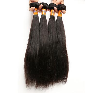 İnsan saç örgüleri Düz Brezilya Saçı Rovné 4 Parça saç örgüleri