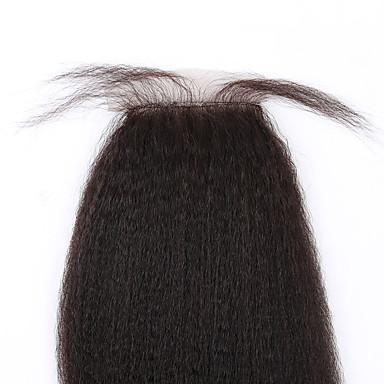 8-20inch Naturlig svart (#1B) Limfrie Kinky Glatt Menneskehår stenging Lysebrun / Medium brun / Mørkebrun Sveitsisk blonde 45 gram