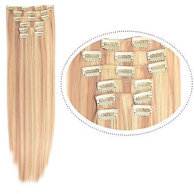 安い毛の毛延長でストレートクリップ22」は、合成繊維#613分の27ミックスカラーwomem髪を7pieces