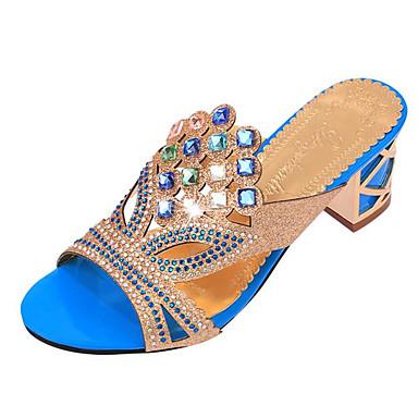 hesapli Kadın Sandaletleri-Kadın's Kalın Topuk Kristal Yapay Deri Yaz Mavi / Altın / Navy Mavi / EU41