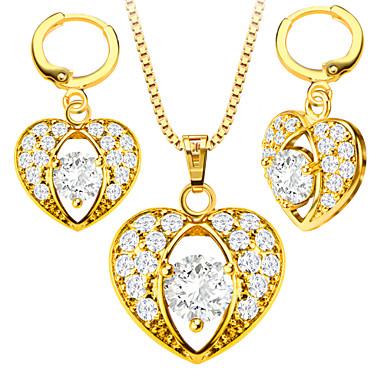 Damen Kristall Krystall Gold Zirkon Schmuck-Set Ohrringe Halsketten - Niedlich Party Freizeit Liebe Modisch Golden Schmuckset Halskette /