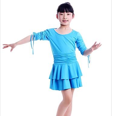 Danse latine Robes Enfant Spectacle Fibre de Lait Plissé 1 Pièce La moitié des manches Taille moyenne Robe