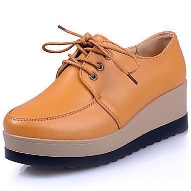 בגדי ריקוד נשים נעליים עור נאפה Leather אביב סתיו נעלי ספורט הליכה פלטפורמה מטפסים שרוכים פרנזים ל אתלטי קזו'אל שחור חום