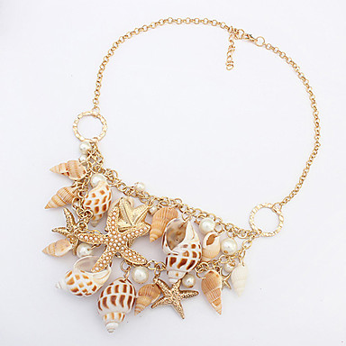 Mujer Collares Declaración - Concha Estrella de mar Importante, Europeo, Moda Dorado Gargantillas Para Fiesta, Diario, Casual