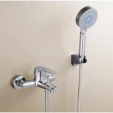 עכשווי מערכת למקלחת מעמד ריצפתי שסתום פליז שתי ידיות חור אחד כרום, ברז למקלחת