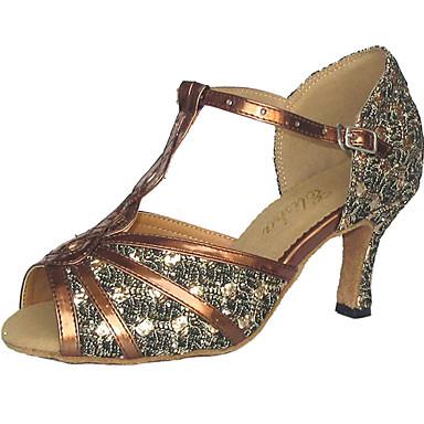 Mulheres Sapatos de Dança Glitter / Courino Sapatos de Dança Latina / Sapatos de Salsa Sandália Salto Personalizado Personalizável Preto / Vermelho / Prateado / Camurça / EU43