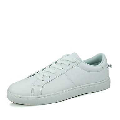 Masculino Sapatos Couro Inverno Primavera Verão Outono Conforto Rasos Caminhada Sem Salto Cadarço para Casual Branco Preto Branco/Preto