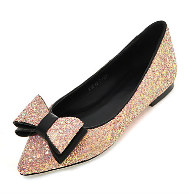 Damen-Flache Schuhe-Büro / Kleid / Lässig-Glanz-Flacher Absatz-Komfort / Spitzschuh-Schwarz / Grün / Rosa