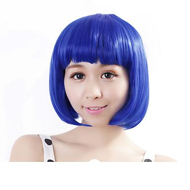 Sentetik Peruklar Düz Bob Saç Kesimi Yoğunluk Bonesiz Kadın's Mavi Karnaval Peruk Cadılar Bayramı Peruk Sentetik Saç