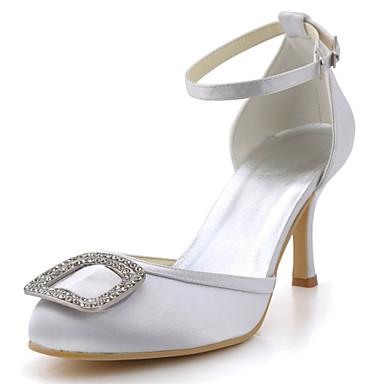 Svart / Blå / Gul / Rosa / Lilla / Rød / Hvit / Sølv / Gull / Beige / Mandel-Bryllup sko-Dame-Hæler / Rund tå-høye hæler-Bryllup /