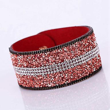Femme Cuir Strass Imitation Diamant Adorable Bracelets en cuir Bracelets - Bohème Mode Forme Géométrique Rouge Doré Pourpre foncé Bracelet