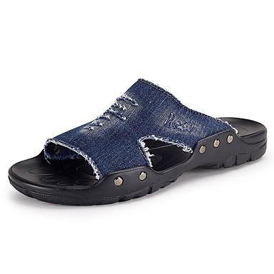 Masculino Chinelos e flip-flops Látex Verão Casual Caminhada Rasteiro Preto Azul Escuro Khaki