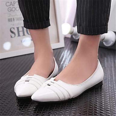 Damen Schuhe PU Sommer Komfort Flache Schuhe Flacher Absatz Für Normal Weiß Schwarz Mandelfarben