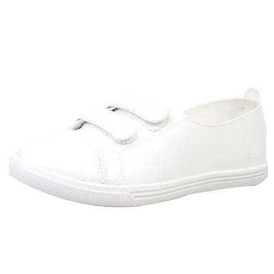 Feminino Sapatos Courino Primavera Outono Rasos Sem Salto Velcro para Atlético Casual Branco Preto