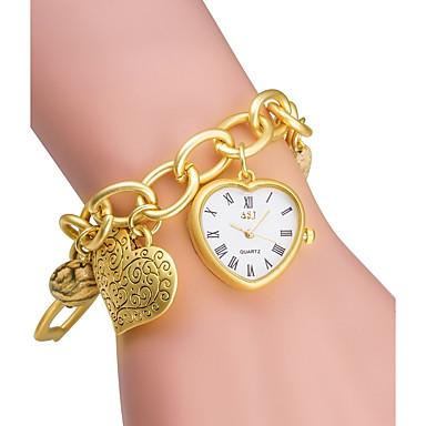 ASJ Dame Modeur Armbåndsur Japansk Quartz Japansk Quartz 30 m / Legering Bånd Analog Heart Shape Sølv / Guld - Sølv Gylden