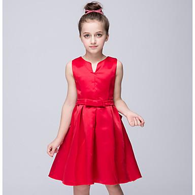 Menina de Vestido,Happy-Hour Cor Única Poliéster Verão Vermelho