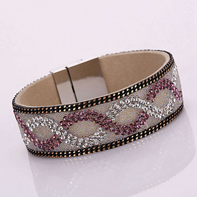 Femme Bracelets Bracelets en cuir Cuir Strass Imitation de diamant Alliage Mode Bohême Adorable Forme GéométriqueBlanc Noir Orange Violet